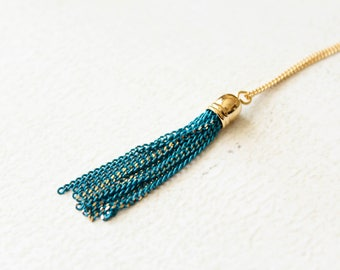 Turquoise Tassel Necklace in Gold