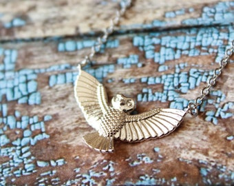 Owl with Outstretched Wings Necklace, Available in Silver and Gold, Tribal Boho Jewelry, Great Horned Owl, Powerful Bird, Strength Power