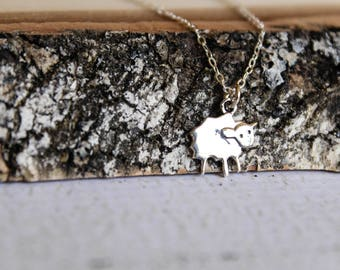 Woolly Sheep Necklace, Available in Sterling Silver or Rose Gold Vermeil and Rose Gold Filled
