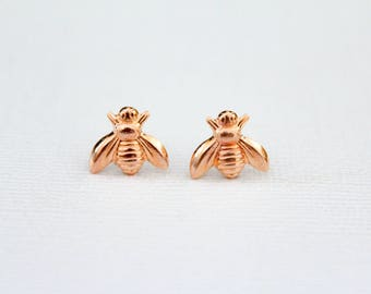 Bee Earrings in Rose Gold Plated Brass, Queen Bee Earrings, Save the Bees, Flying Insect Pollinator, Garden Creature Bug, Pink Gold Bees