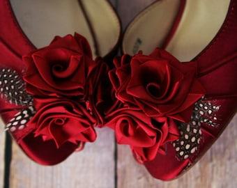 Wedding Shoes, Custom Wedding Shoes, Rouge Wedding Shoes, Red Wedding Shoes, Rose Wedding, Wedding Roses, Kitten Heel, Peep Toes, Wide Width