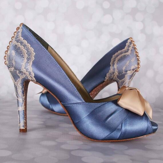 6104c93453a4 Something Blue Shoes French Blue Wedding Lace Wedding Shoe