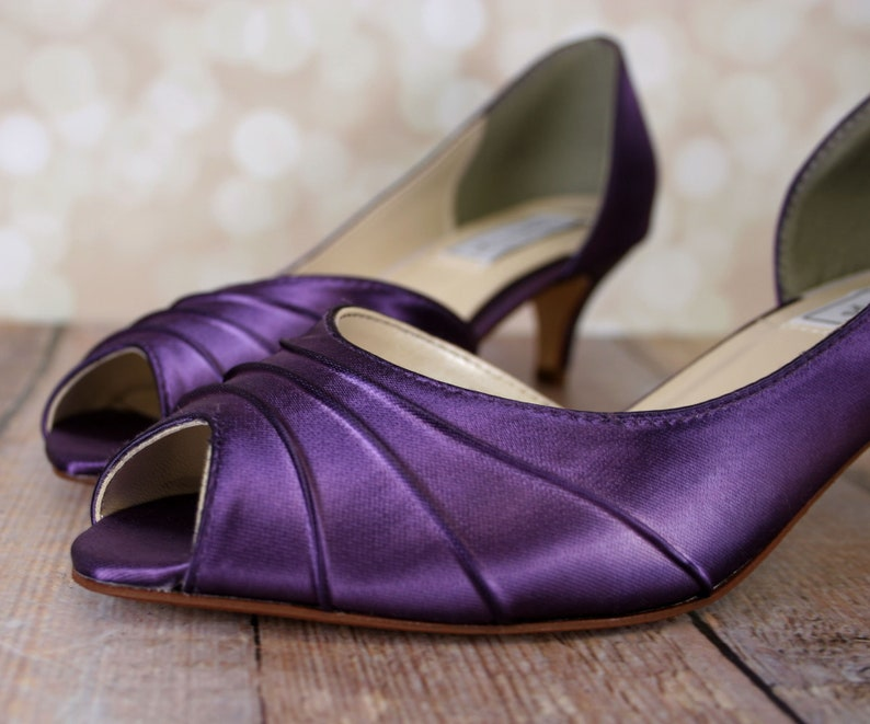 Purple Wedding Heel.Purple Wedding Shoes For Bride Dyeable Wedding Shoes Custom Bride Shoes Bridemaids Shoes Dyed Shoes Simple Bridal Heels Low Heel Shoes