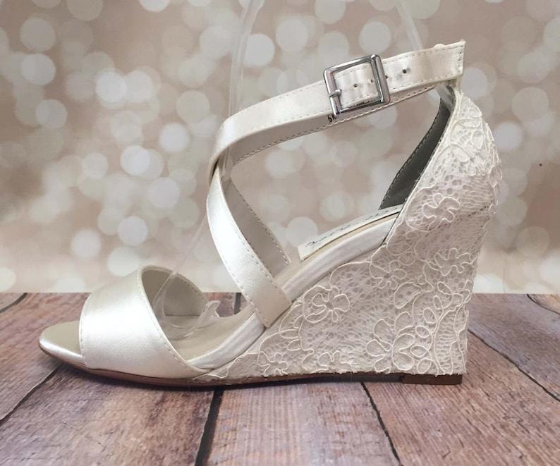 Ivory Wedding Shoes Lace Wedding Wedges Ivory Lace Wedges  3f89cf2da