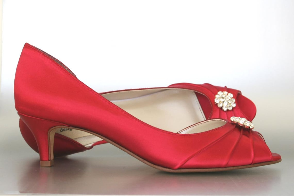 Wedding Shoes Bridal Heels Red Kitten - Big Sale ftvfY