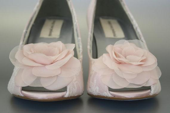 Custom Wedding Shoes Blush Wedge Peep