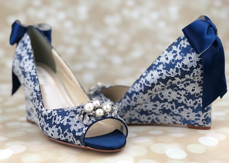 Navy Blue Wedding Wedges Wedge Bridal