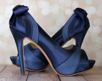 Navy Blue Wedding Shoes, Platform Peep Toe Shoes, Navy Blue Bridal Accessories, Bow Wedding Shoes, Satin and Chiffon Shoes, Custom Wedding