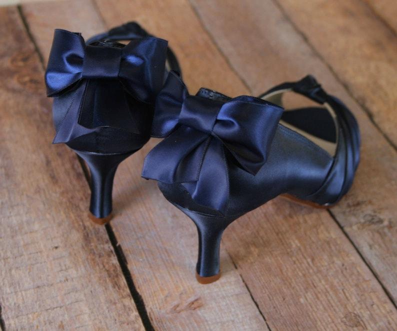 92701770cb10 Navy Blue Wedding Shoes Low Heel Blue Bridal Accessories