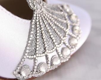 Wedding Shoes, White Wedding Shoes, Bling Wedding, Closed Toe Shoe, Vintage Wedding, Art Deco, Custom Wedding, Design My Own Wedding Shoes