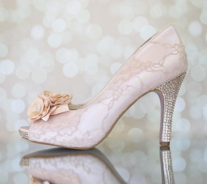 9c6682b9984 Blush Wedding Shoes for Bride Crystal Heels Lace Wedding