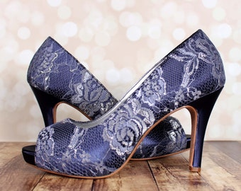 Navy Blue Wedding Shoes for Bride, Lace Bridal Shoes, Navy Blue Heels, Custom Wedding Shoes, Dyeable Bridal Heels, Bridesmaid Shoes, Blue