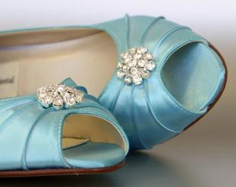 Blue Wedding Shoes for Bride Low Heel, Blue Bridal Shoes, Wedding Shoes Blue, Something Blue for Bride, Low Heel Wedding Shoes