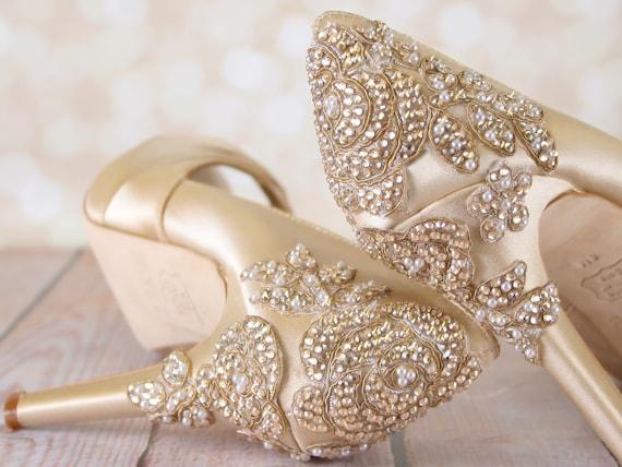 b2e9312d1c1b9 Champagne Wedding Shoes, Vintage Wedding, Art Deco Wedding, Crystal Heels,  Crystal Wedding Shoes, Custom Wedding Shoes, Wedding Shoes