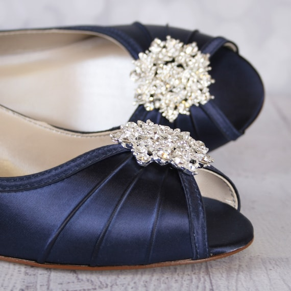 Navy Blue Wedge Wedding Shoes Low Heel Wedding Shoes Navy Etsy