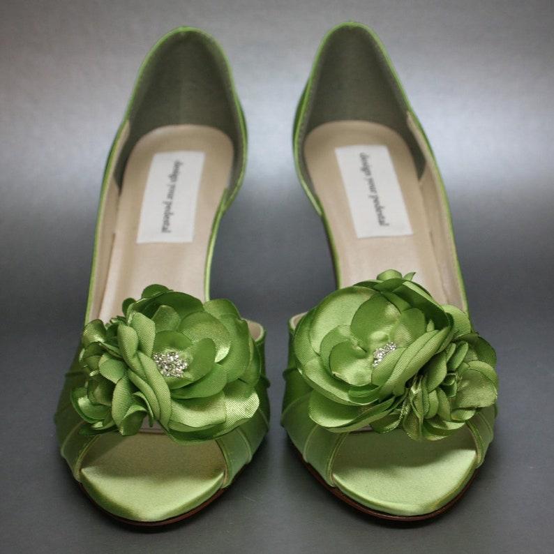 Green Wedding Shoes for Bride Bridal Heels Open High Heel Shoes Bridal Shoes Heel