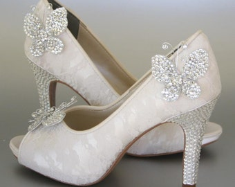 Wedding Shoes -- Ivory Peeptoes with Lace Overlay, Rhinestone Heel and Platform and Rhinestone Butterflies