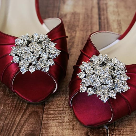 3dc8b82b241 Rouge Red Wedding Shoes Peep Toes Custom Wedding Shoes Red