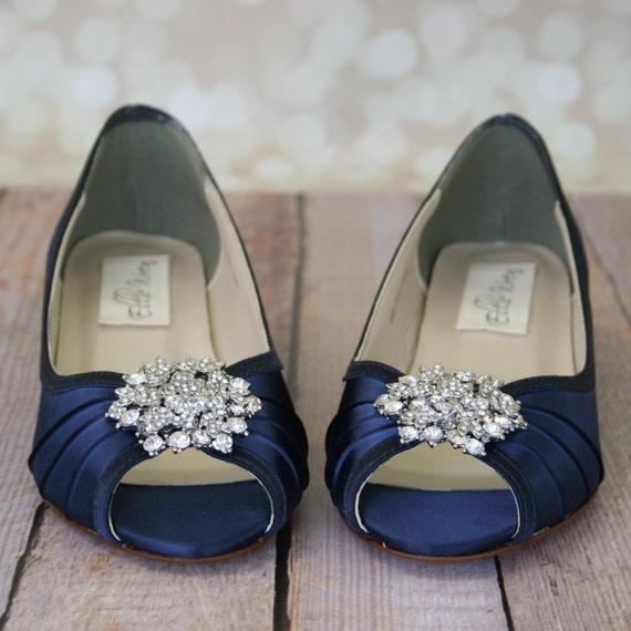 Blue wedding shoes navy blue shoes custom wedding shoes etsy image 0 junglespirit Image collections