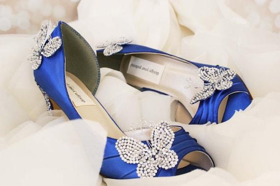 Wedding Shoes Royal Blue Kitten Heel