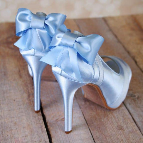 Light Blue Wedding Shoes Platform Peep