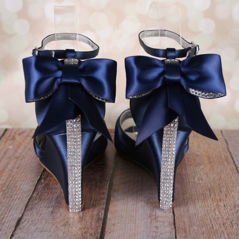 bdc3fdbe0466 Navy Blue Wedding Shoes Navy Blue Bridal Heels Bow Wedding