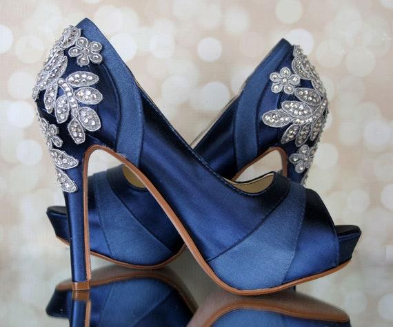 Wedding Shoes Navy Blue Wedding Shoes Bridal Heels Custom Etsy