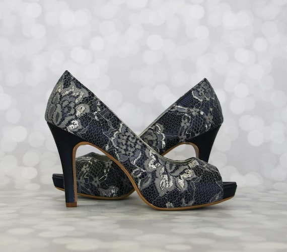 86073c8a4f67 Wedding Shoes Custom Color Navy Blue Wedding Shoes Lace