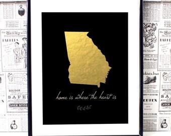 Georgia Map, Georgia State Print, Georgia State Art, State Artwork, State Art Print, Georgia Wall Art, Georgia Decor, College Dorm Decor