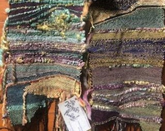 Scarf-hand woven-hand spun yarns....shipping included in lower 48