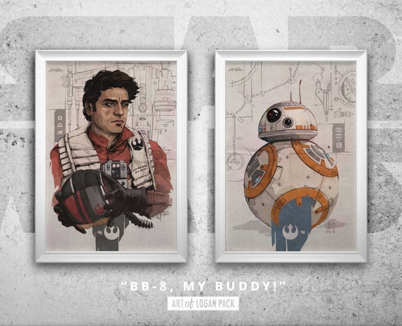 BB8 Postcard The Force Awakens Star Wars Art Print
