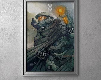 GUARDIAN - Master Chief - Halo 5 Guardians - Halo Videogame Series - Original Art Poster