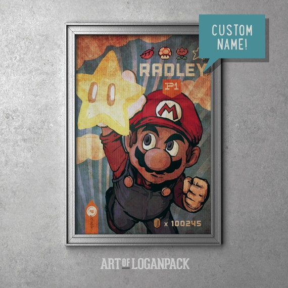 Super Mario With Custom Name Nintendo S Super Mario Bros Original Art Poster