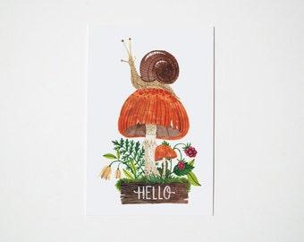 Hello snail postcard