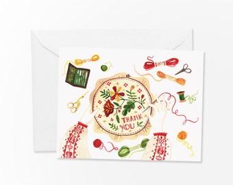 Folk Embroidery Thank You card