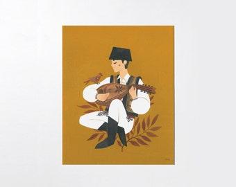Mockingbird & kobza - 8x10 art print