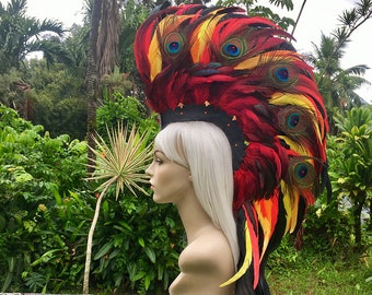 "Made to order: ""Haleakala"" Phoenix Style Feather Mohawk / Headdress"