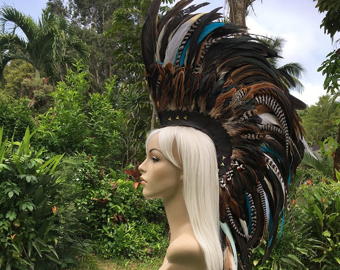"Made to order - Customizable Feather Mohawk / Headdress - ""Leilani"""