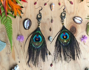 Peacock Earrings on Heart clasps