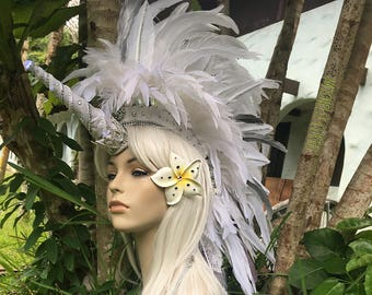 "Made to order: ""Lani"" Customizable Unicorn Feather Mohawk / Headdress; festivals, burning man, raves, Carnivale, costume, cosplay"