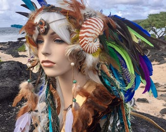 "Made to order - Mermaid Nautilus Shell Headdress  - ""Namaka"" Burning Man, Festival,  Siren, Festival, Goddess, Fantasy, Costume,"