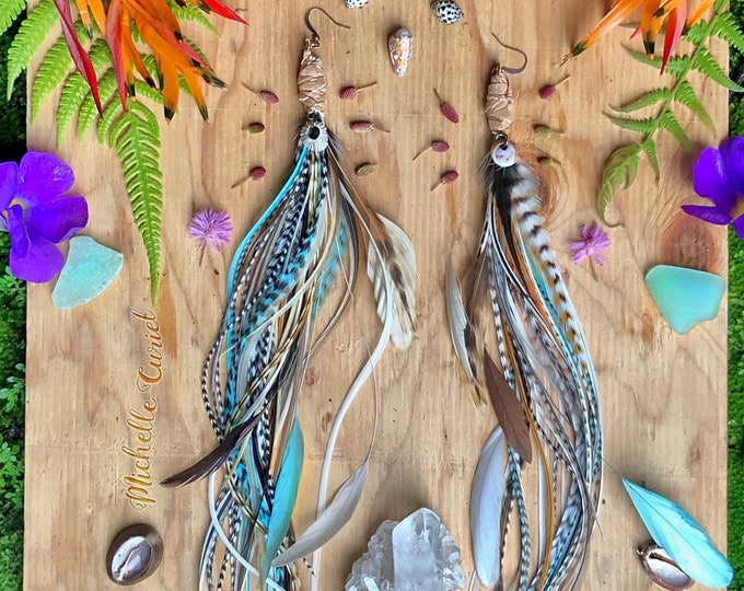 Ready to ship - Extra long Feather Earrings