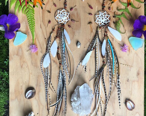 Ready to ship - Dream Catcher Feather Earrings with Hawaiian Puka Shells