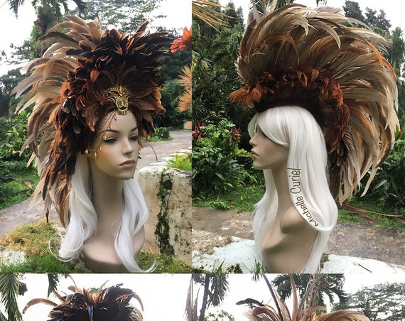 """Made to order: """"Nala"""" Convertible Feather Mohawk Headdress; Mardi Gras, Lion, Costume, Cosplay, Parties, Masquerade, Festival, Carnaval"""