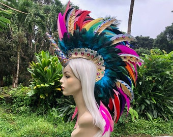 Made to order: Kaulana - Rainbow Unicorn Rhinestone Feather Mohawk / Headdress, Festivals, Masquerade, Cosplay,  Rave, Burning Man, Bronie