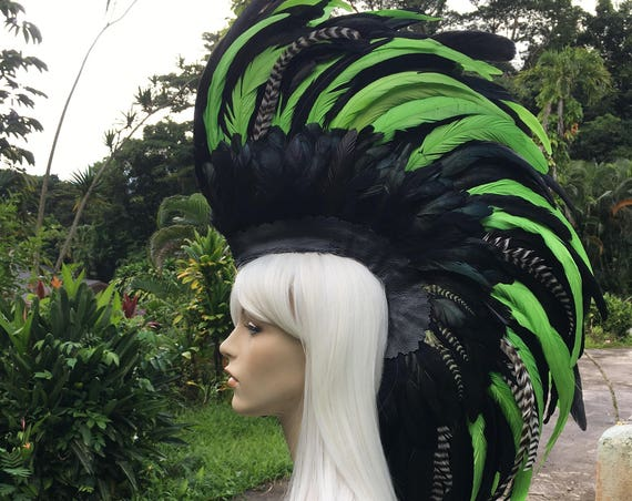 Made to order: Customizable Feather Mohawk / Headdress; festivals, raves, parties, costume, mardi gras, cosplay