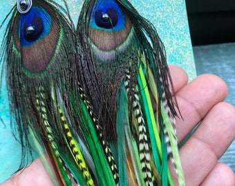 Green Dream Peacock Feather Earrings