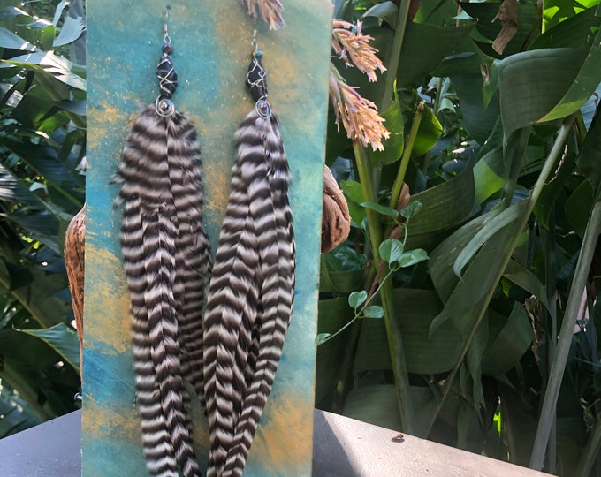 Featured listing image: Zebra Stripe Feather earrings