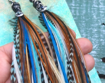 Land and Sea Feather Earrings