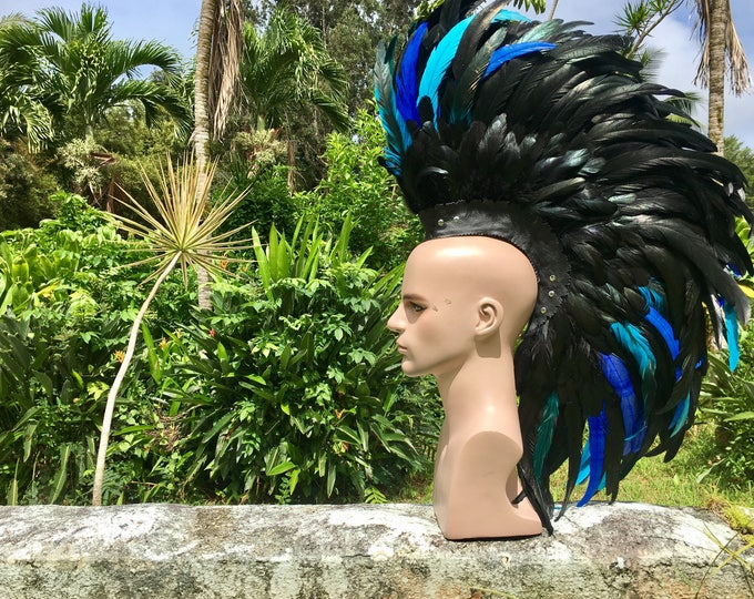 "Customizable Feather Mohawk / Headdress - ""Midnight Blue"""